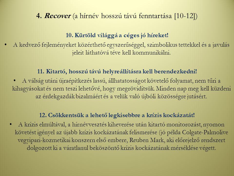 4. Recover (a hírnév hosszú távú fenntartása [10-12])